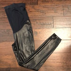 Spanx maternity faux leather leggings